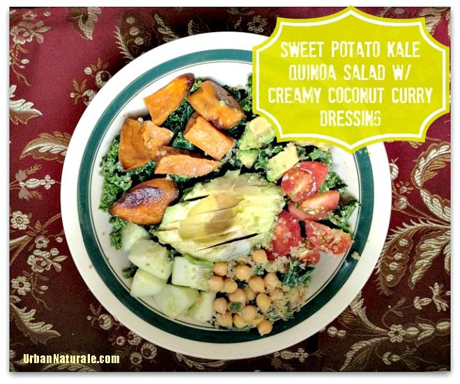 Meatless Monday: Sweet Potato Kale Quinoa Salad with Creamy Coconut Curry Dressing