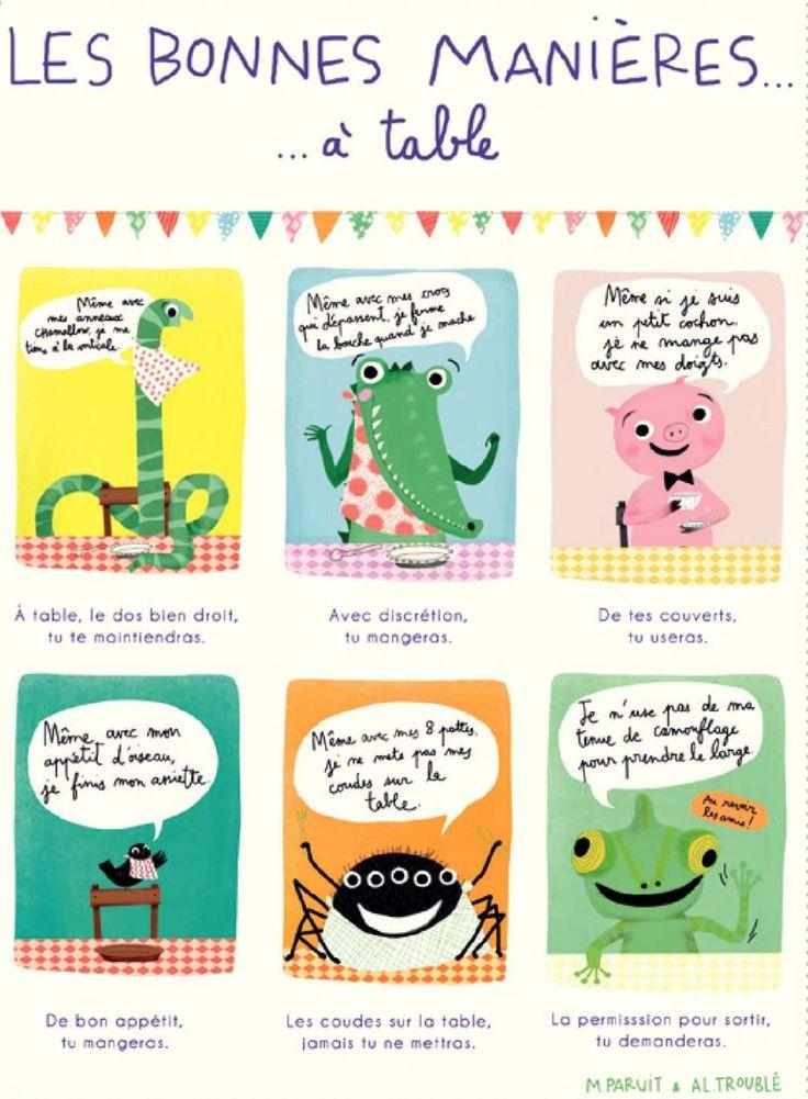 Les bonnes manières à table illustrées :)