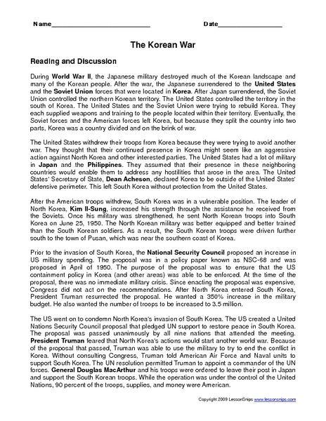 History Korean War Worksheet - Worksheets