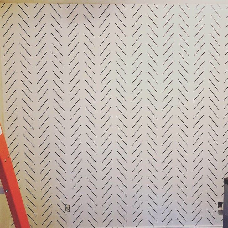 Modern Delicate Herringbone Wallpaper In Black And White Etsy Herringbone Wallpaper Waves Wallpaper Pattern Wallpaper