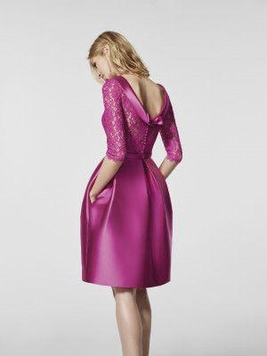 Imagem do vestido de festa rosa (62075). Vestido GLACE curto manga três quartos