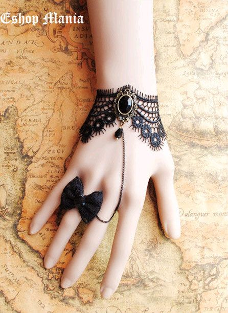 Pulsera gótica victoriana Lolita encaje negro cadena por eshopmania