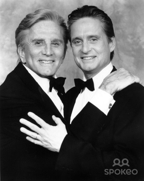 Kirk Douglas at his American Film Institute Salute with his son Michael 1991