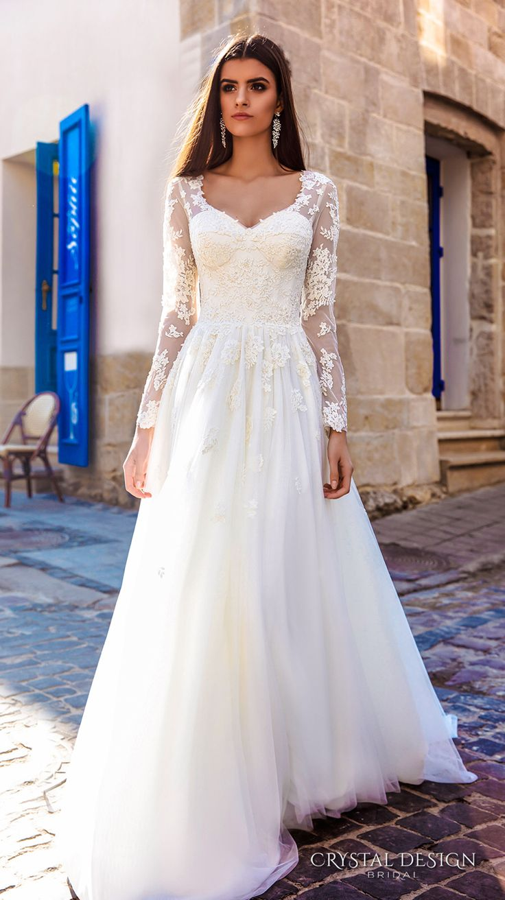 Long Sleeves V Neck Lace Bodice Corset Tulle Skirt Elegant Modified A Line Weding Dress Chapel Train Siena Mv Crystal Design 2016 Wedding Dresses
