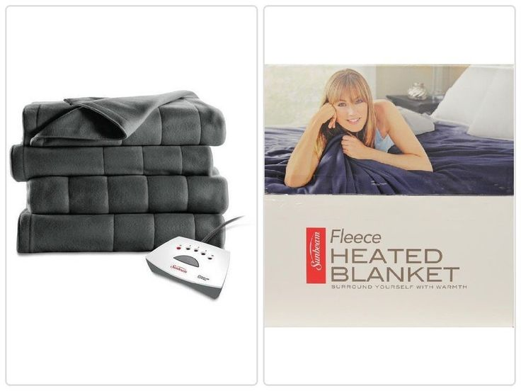 #Warm #Electric #Heated #Quilted #Fleece #Blanket Gray with Pro Controller Queen Size