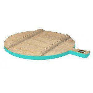 HK-living Broodplank rond hout medium naturel/groene zijde Ø36cm