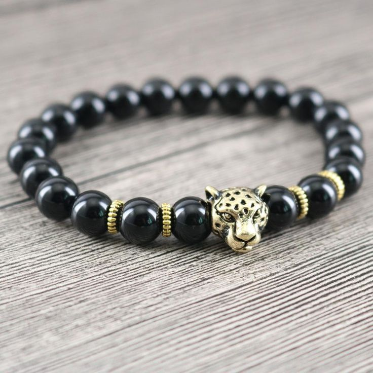 Black Onyx & Golden Panther Bracelet Mens Wristband Womens Bangle Leopard Charm Jewellery Beaded Antique Design Drop Shipping