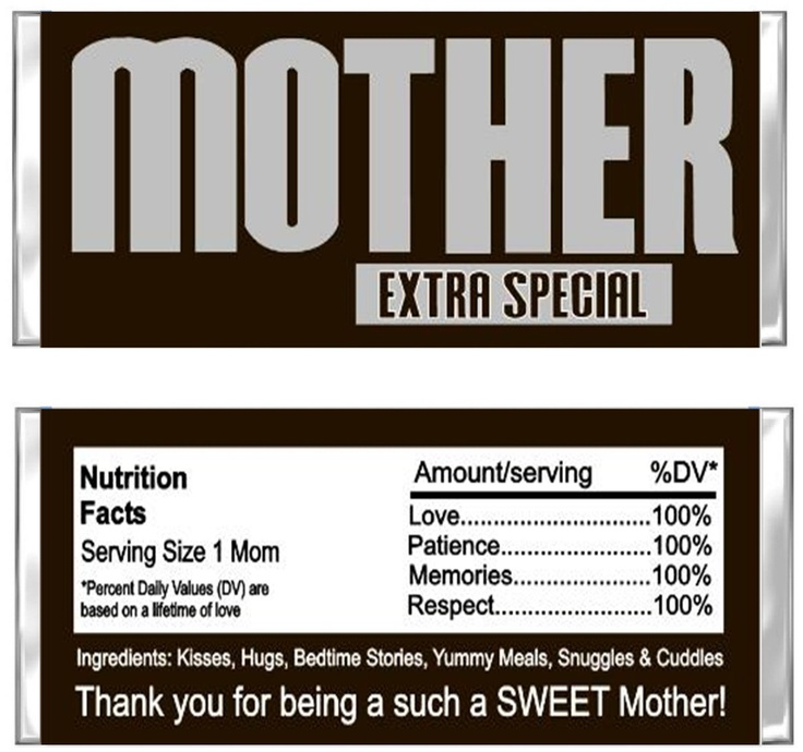 Mother's Day Hershey Candy Wrapper Personalized Present - Unique Gift Idea