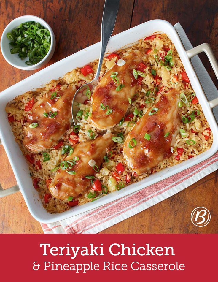 Chicken and rice casserole gets a sweet-and-savory twist with teriyaki-glazed chicken and pineapple-studded rice. Short on time? Use store-bought teriyaki glaze and canned pineapples (for 1 cup of canned pineapple, increase stock to 1¾ cups).