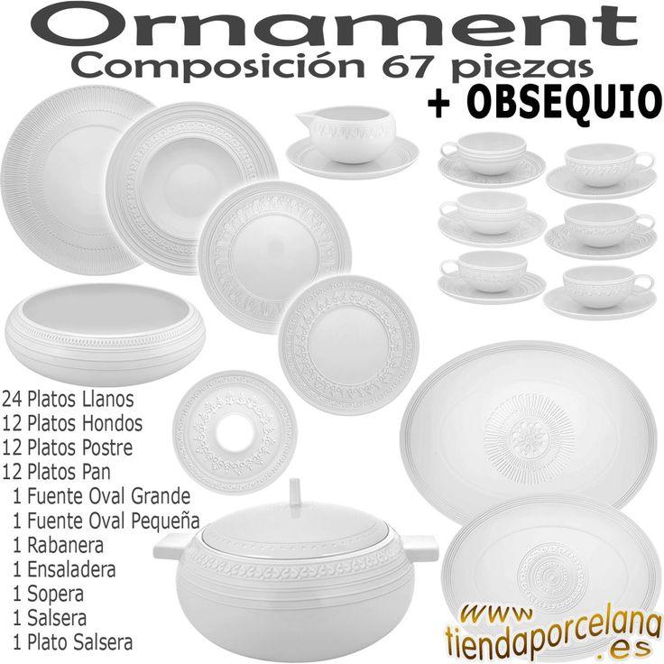 Vajilla de 67 piezas marca Vista Alegre modelo Domo Ornament