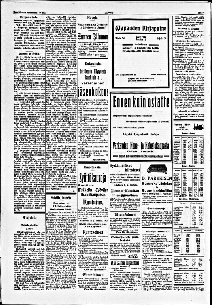 19.01.1916 Vapaus no 7 - Sanomalehdet - Digitoidut aineistot - Kansalliskirjasto