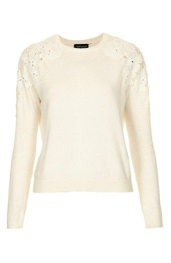 embroidered shoulder knit sweater / topshop
