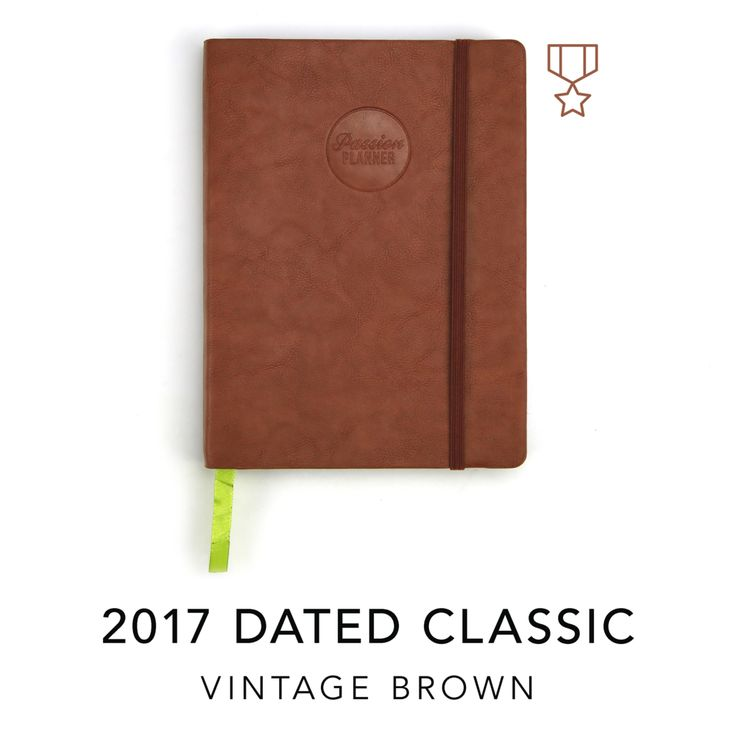 """PRE-ORDER NOW! CLASSIC:8.5""""x11""""    *For every Vintage Brown Passion Planner purchased, we'll be donating a  planner to organizations that support Veterans assistance.  We will be donating to organizations including Camp Valhalla, Paws for  Patriots, Team Rubicon and more!    As this is a Limited Edition planner, once it sells out, it will not be  remade.    Ships November 2016  Currency shown is in US Dollars."""