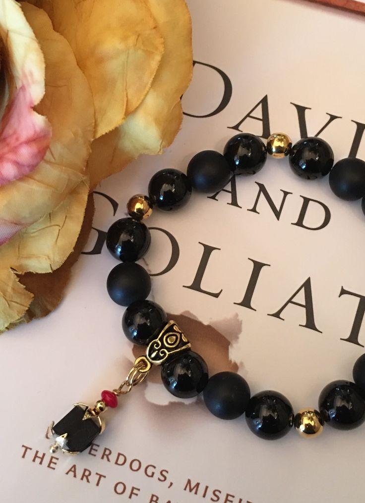 AZABACHE Black Onyx Stretch Bracelet