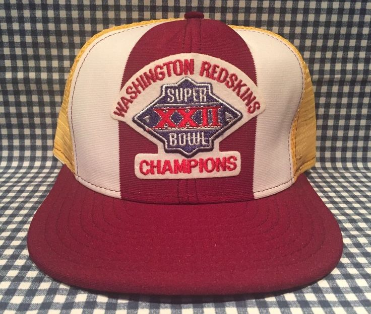Vintage Washington Redskins Super Bowl XXII Mesh Trucker Hat Lucky Stripes AJD  | eBay