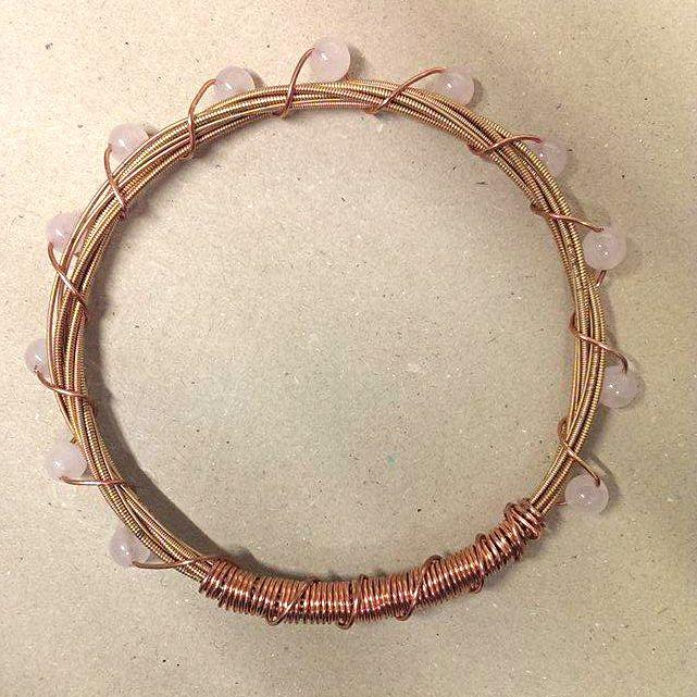 Bronze Guitar String Bracelet with Rose Quartz