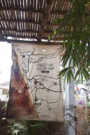 Live Like a Waterman — street art gallery map at Vaayu Goa