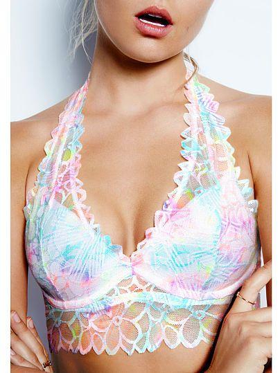 Floral Lace Halter Bralette - PINK - Victoria's Secret