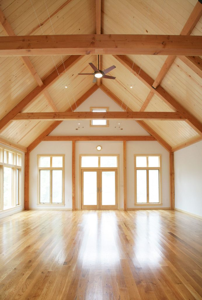 Imagine what you could do with this beautiful timber space. This is a post and beam addition. Click thru to see more. #Barnhomes