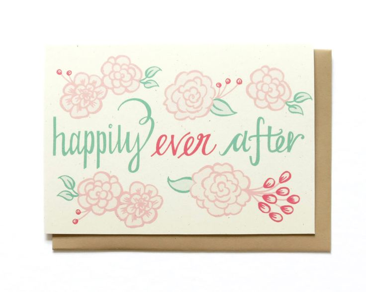 Wedding Card Happily Ever After Spring Wedding by HennelPaperCo BODA