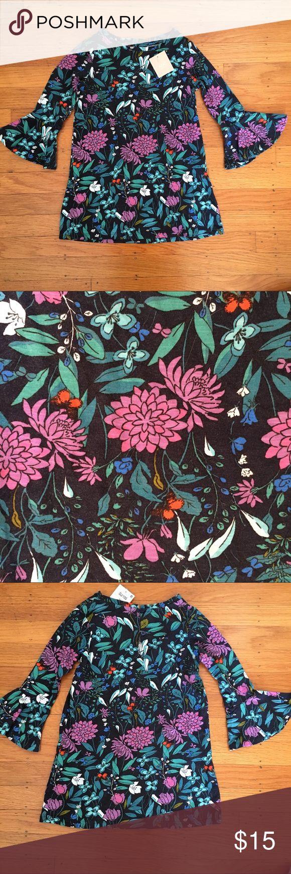 Girls tee shirt dress Navy teal and purple floral print tee shirt tunic dress with ruffle sleeves. next Dresses