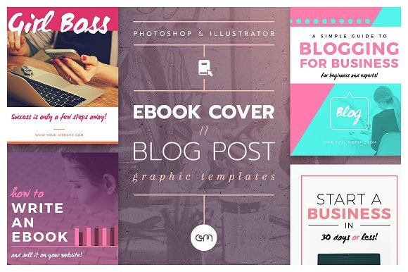 Ebook Cover / Blog Post Graphics / 16 easy to edit, fully customisable Ebook Cover / Blog Post templates