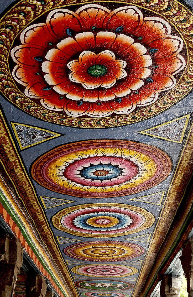 Painted Corridor Ceiling Meenakshi Sundareshwarar Temple