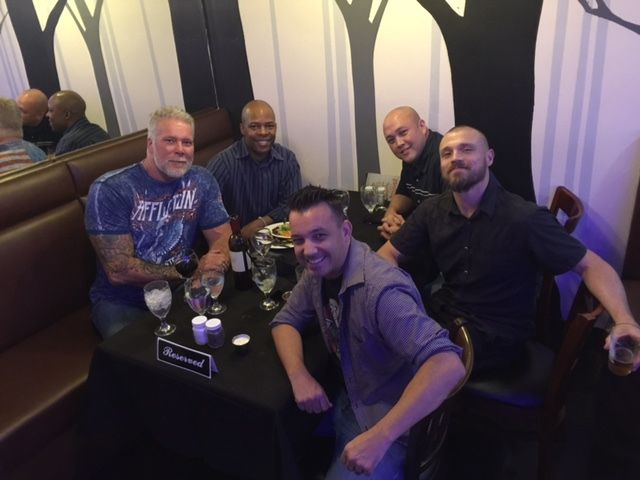 Here's our first meeting with Kevin Nash to discuss The Bend and his role as Sheriff Eli Kegan!!  Pictured from left to right - Kevin Nash, Ron Brokenbrough (back), Ricky Borba, Mike Ward, & Scott Olmstead.
