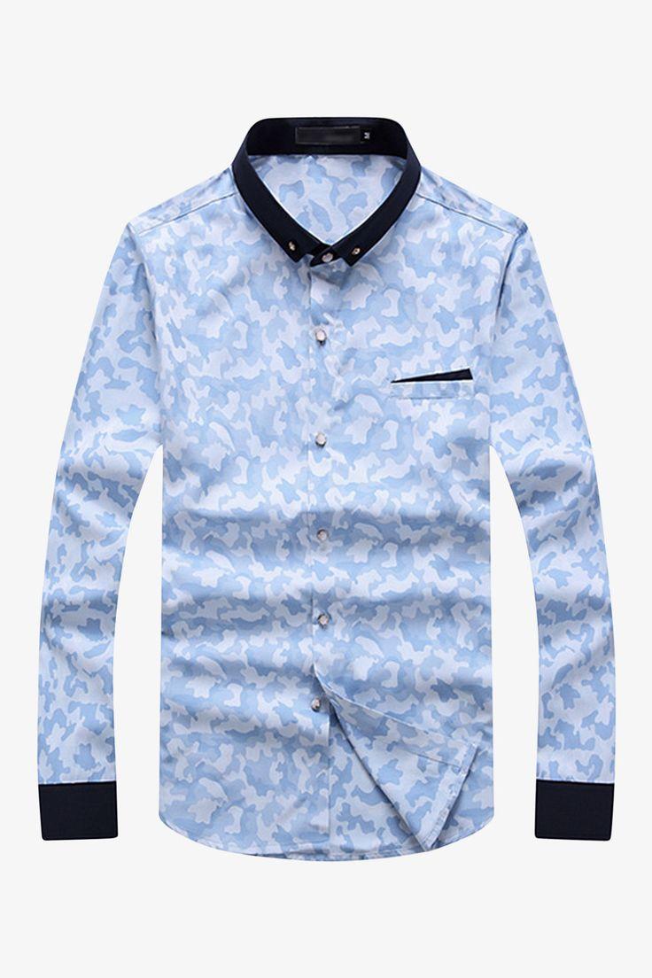Slim Fit Сamouflage Style Light Blue Shirt