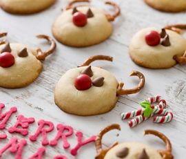 Rudolph Cookies: These delighful cookies are sure to please both young and old using ALLEN'S JAFFAS- why not make extra to give away as gifts!. http://www.bakers-corner.com.au/recipes/allens/rudolph-cookies/