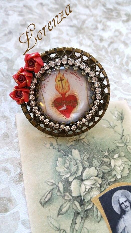 """Bague filigrane bronze """"Sacré coeur de Jésus"""""""