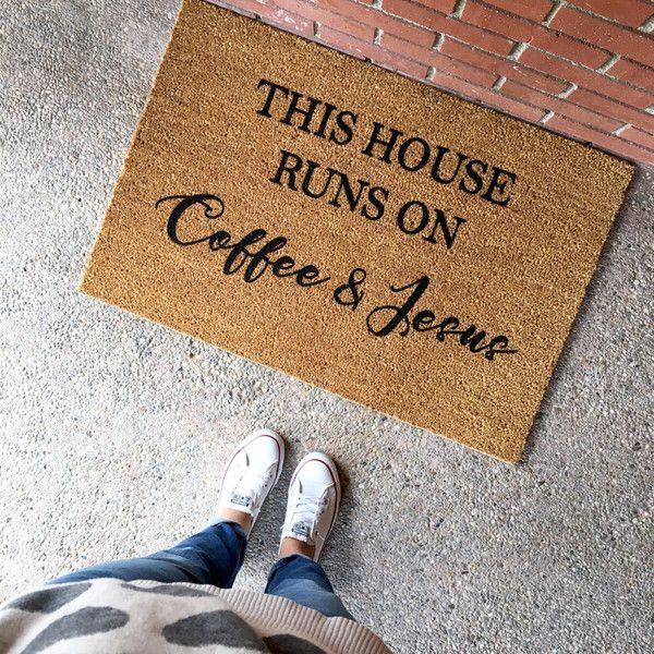 The Coffee and Jesus Doormat Cute Doormat Welcome Mat New Home This... ($49) ❤ liked on Polyvore featuring home, outdoors, outdoor decor, grey, home & living, home décor and grey door mat