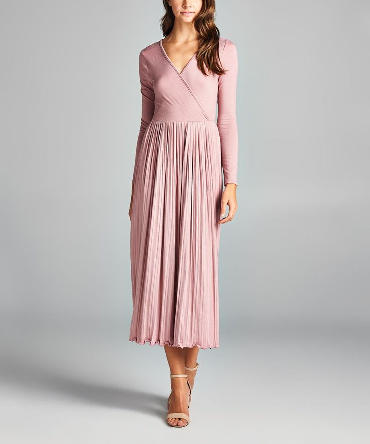 Mauve Scallop Surplice Midi Dress