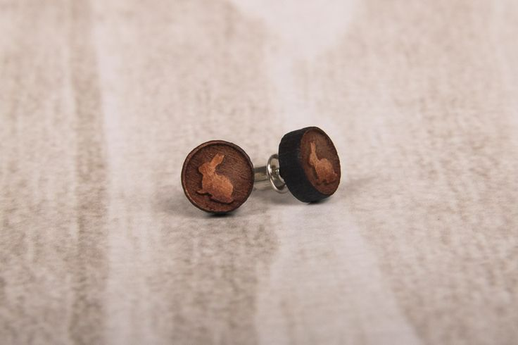 Wooden Laser Cut Small Round Bunny Earrings made in South Africa