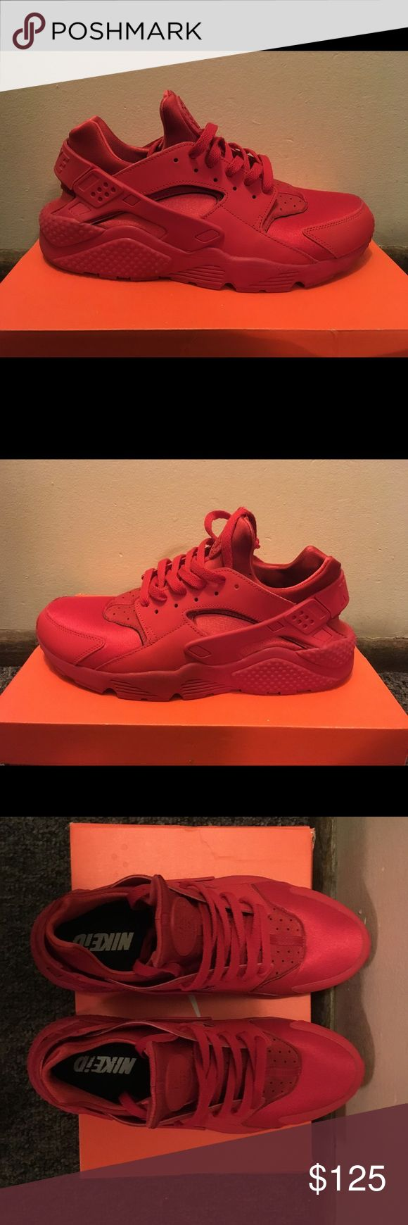 Custom All Red Nike Air Huarache Like New!!! Only been worn 3 times. Comes in orange Nike shoe box. Nike Shoes Sneakers