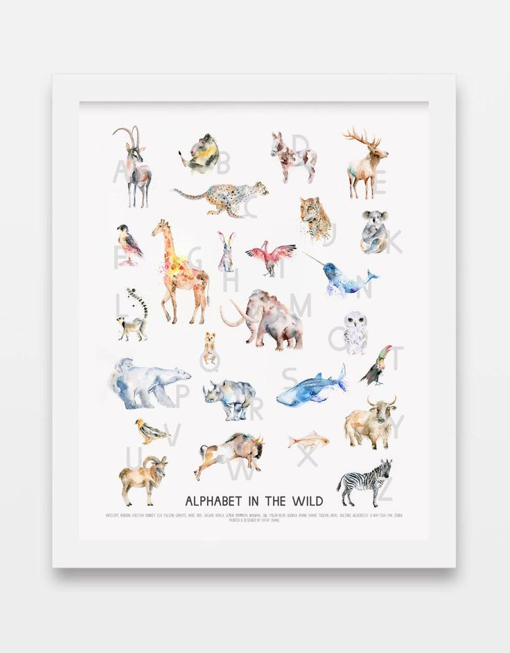 NEW: Wild Animals Alphabet Poster w/Optional Custom Name - whimsical watercolor animal alphabet print, alphabet art for nursery kids room. by SeeWhyZhang on Etsy https://www.etsy.com/ca/listing/512882378/new-wild-animals-alphabet-poster