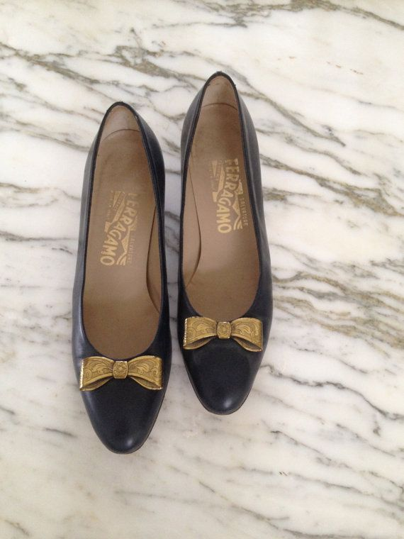 Salvatore Ferragamo Navy Blue Heels with Gold by LaCroisetteExtras, $85.00