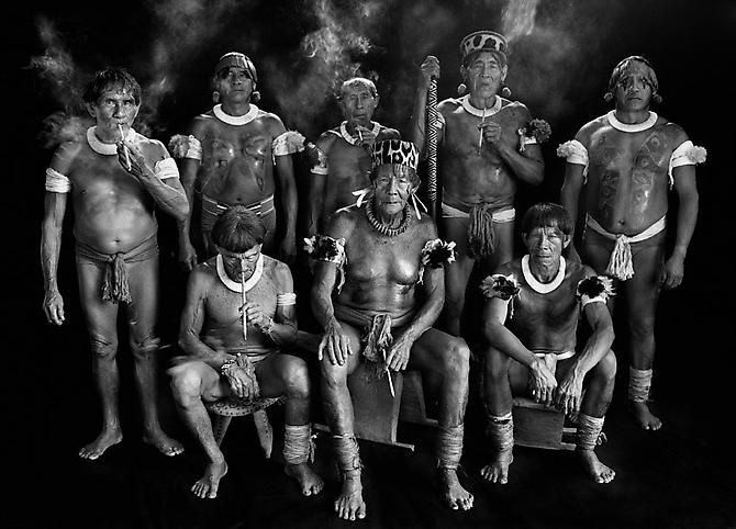 © Sebastiao Salgado - Group Portrait of all of the Kamayura Shamans, High Xingu, Mato Grosso State, Brazil, 2005.