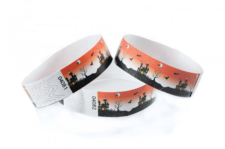 """""""Haunted House"""" Tyvek® 3/4"""" Pattern Wristbands perfect for Halloween parties or any other special event. www.medtechgroup.com #Halloween #Wristband #Bats #Events #Admission #Ticket"""