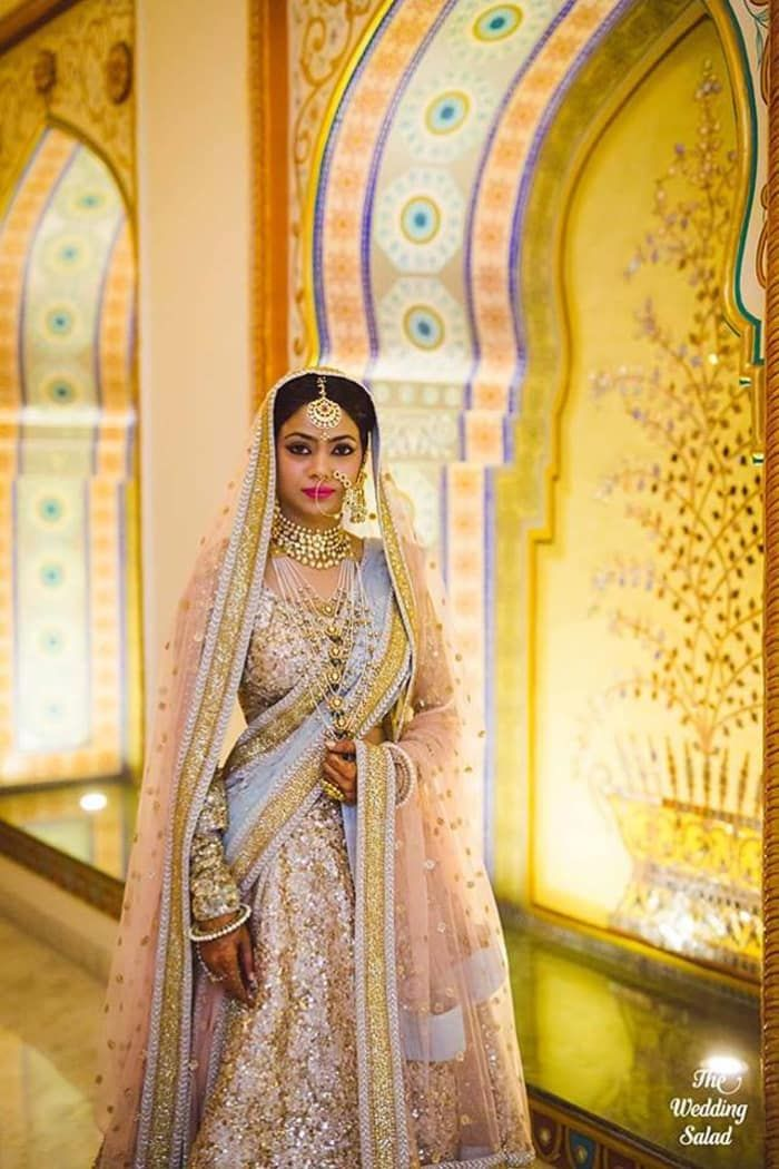 Bridal Wear - The Bride Garima! Photos, Hindu Culture, Beige Color, Bridal Makeup, Antique Jewellery, Pearl Jewellery pictures, images, vendor credits - The Wedding Salad, WeddingPlz