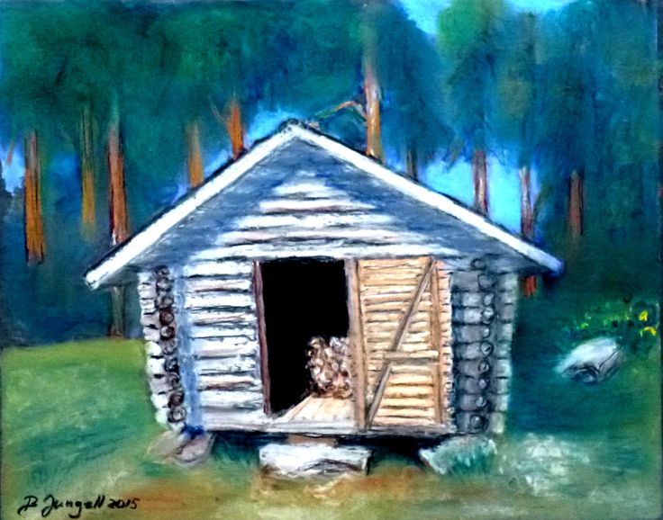 """Woodshed"" Original pastel painting by Britta Bergström-Jungell."