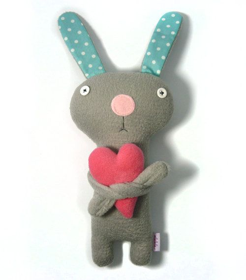 Bunny with Heart, stuffed plush animal