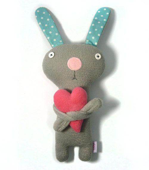 Bunny with Heart, stuffed plush animal