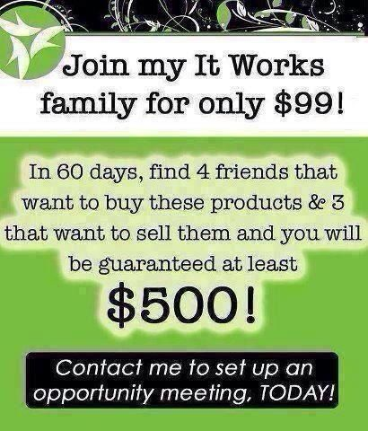 Join my It Works team today!  www.sarahlamarlere.myitworks.com