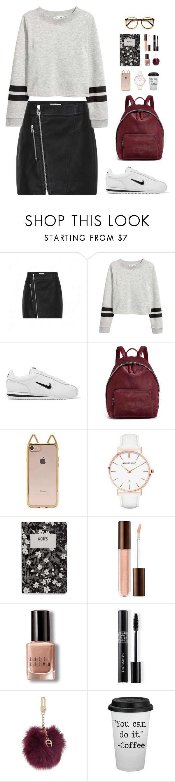 """First Day Back to Campus"" by elliejd ❤ liked on Polyvore featuring NIKE, STELLA McCARTNEY, Forever 21, Abbott Lyon, Design Letters, Bobbi Brown Cosmetics, Christian Dior, Etienne Aigner and BackToSchool"