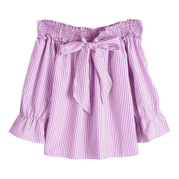 Self Tie Bowknot Striped Blouse ($16) ❤ liked on Polyvore featuring tops, blouses, striped blouse, pink top, stripe blouse, pink blouse and self tie blouse