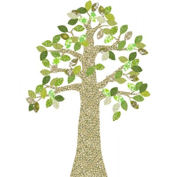 Silhouette in carta da parati di un grande albero verde del designer olandese Inke Heiland.