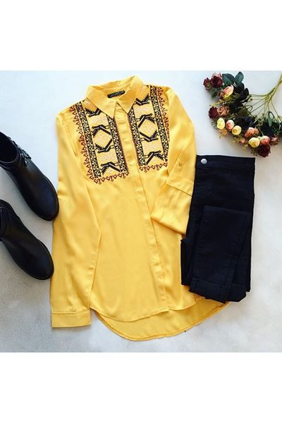 Detayları Göster Nakışlı Sarı Gömlek