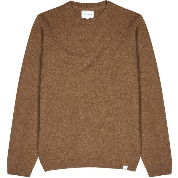 Norse Projects Sigfred Brown Mélange Wool Jumper - Size S (205 CAD) ❤ liked on Polyvore featuring men's fashion, men's clothing, men's sweaters, mens brown sweater, mens woolen sweaters and mens wool sweaters