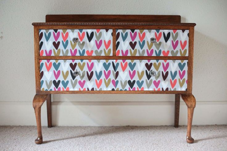 Old solid oak Queen Anne dresser drawers decoupaged with hearts paper and paired with stunning cut glass knobs.